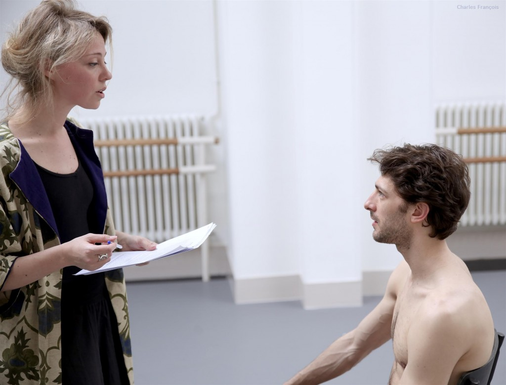 Orianne Moretti lors des répétitions avec le danseur étoile Mathieu Ganio pour Le Rappel des Oiseaux. 2016.